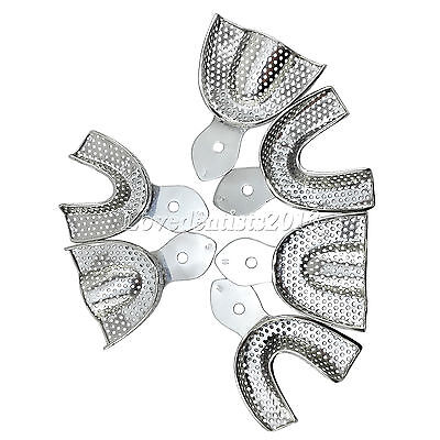 6pcs/Box Dental Autoclavable metal Impression Trays Stainless Steel Upper Lower