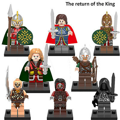8PCs/set The Lord of the Rings Minifigures Aragorn Archer Rohan King  Hobbit Toy