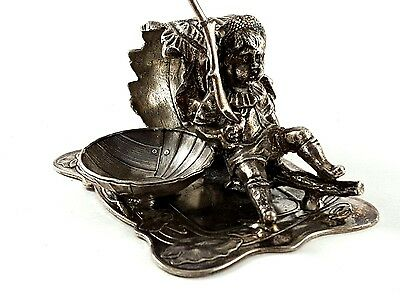 Victorian Silver Plated Figural Napkin Ring Boy Linen Holder Place w Salt Cellar