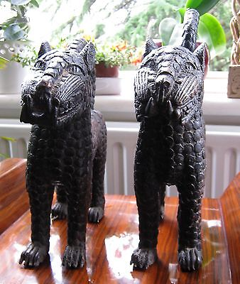 Pair of Tribal Benin Bronze Palace Leopards / Cats - Tribal Art