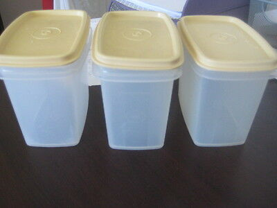 Vintage Retro Tupperware Shelf Savers Modular Mates CLEAR  Stackable Canister x3