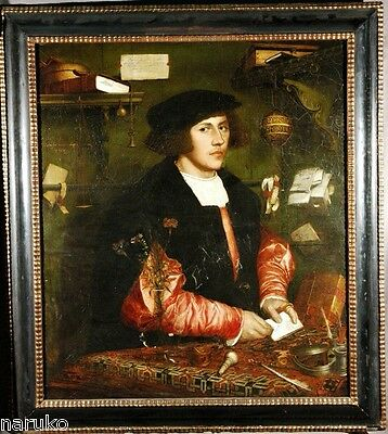 REDUCED 18thC OLD MASTERS COPY OF PAINTING H HOLBEIN'S GERMAN MERCHANT IN LONDON