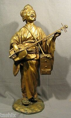"""Signed 34"""" H Antique Japanese Cast Iron Girl In Kimona Playing String Instrument"""