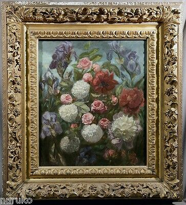 IMPORTANT FRENCH FLORAL STILL LIFE BY SIMON SAINT-JEAN dtd 1851 VERY WELL LISTED