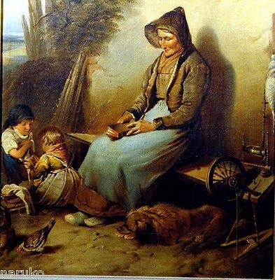 Grandma & Children At Home Dog & Spinning Wheel O/c 1870S To 1880 Just Charming
