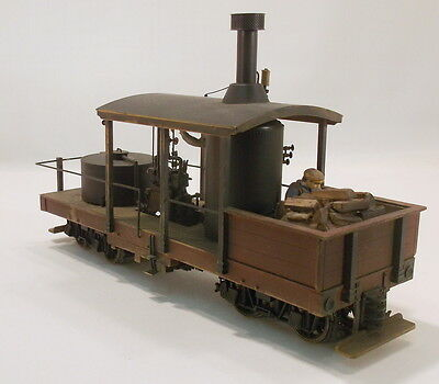 On3 BRASS CAR WORKS GEARED LOGGING VERTICAL BOILER 2 TRUCK CLIMAX-PNTD/WEATHERED