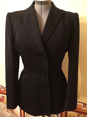 Vintage 40s Pin Up Bombshell Black Blazer Size S-M EC Amazing Detail!