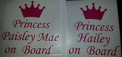 1 Princess Baby On Board with Name Car Windo Vinyl Decal Sticker 4 in *any color
