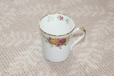 Queens Stratford Rosina China Co Fine Bone China Coffee Mug Roses White Gold
