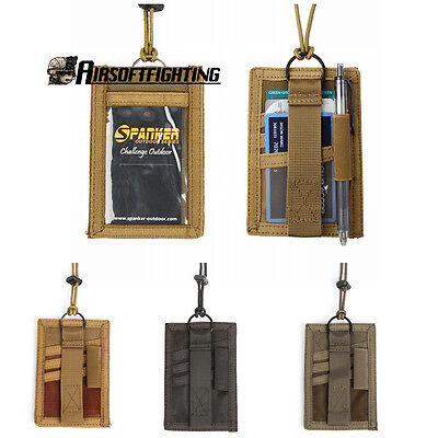 Tactical ID Cards Pockets Vertical Military Tactical Pass Holder + Neck Lanyard