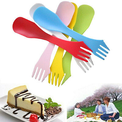 6X Plastic Camping Hiking Spork Spoon Knife Fork Combo Travel Cutlery Utensils
