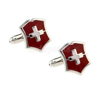 Classical Red Swiss Flag Party Gift Mens Suit Cufflinks Cross Cuff Links