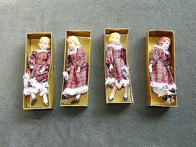 """LOT of 4 Dolls Vintage China Head Hands Legs Cloth Body 8"""" Doll Made Taiwan SAME"""