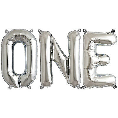 Party Supplies Silver 41cm Foil Letters Balloon 'ONE' Baby First Birthday