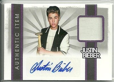 2012 Panini Justin Bieber Trading Card -  Autograph Worn Material Relic Card #16