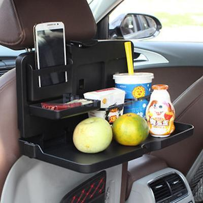 Universal Foldable Car Seat Back Tray Holder Stand for Drink Book Black