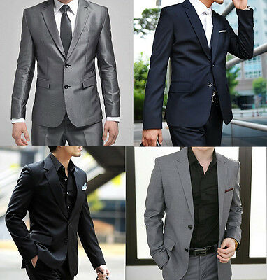Formal Men's Suits Wedding Party Groom Tuxedo Two Button Quality Suits Plus Size