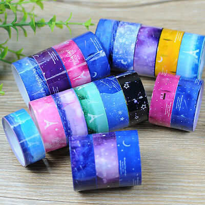 10 PCS DIY Decor Starry Sky Washi Roll Sticker Masking Tape Adhesive Decorative