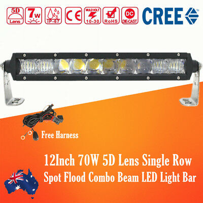 12Inch 70W CREE LED Light Bar Flood Spot Combo Single Row Offroad Truck 14/15''