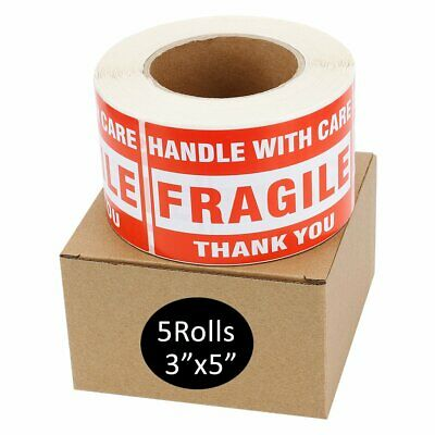 5 Rolls Large 3x5 Fragile Handle with Care Thank You Labels Stickers 500/Roll