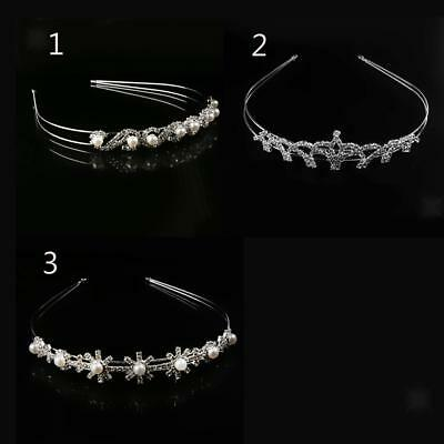 Wedding Bridal Crystal Pearls Tiara Crown Headpiece Headband Prom Hair Accessory