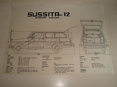 AUTOCARS SUSSITA 12 STATION WAGON SEPERATE DIMENSIONS OVERLAY SHEET c.1968/9
