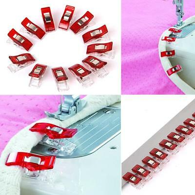12/50pcs Wonder Clips for Quilting Sewing Knitting Art DIY Craft Red/Clear