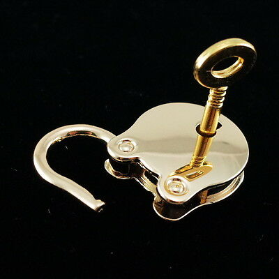 Old Vintage Antique Style  Padlock Padlock Pendant Gold Color with key