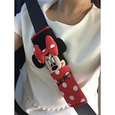 Minnie Mouse Car Accessorie Plush Soft Doll Toy Seat Belt Cover Shoulder Pad x2