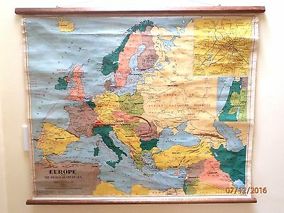~VINTAGE EUROPE PULL DOWN SCHOOL MAP by CHAS. SCALLY made by JOHN SANDS~