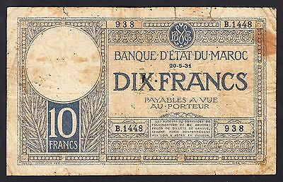 Morocco 10 Francs 1931 Very Poor P.17,   Banknotes, Circulated