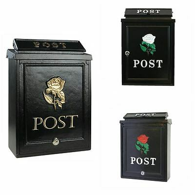Vintage Black Lockabale Wall Mounted Postbox Mail Letter Wedding Box Victorian