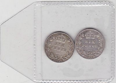 1895 & 1899 Victorian Old Head Sixpences In Fine To Good Fine Condition