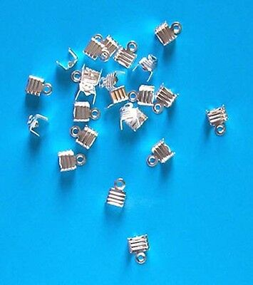 50 silver plated ridged folding crimps/ends for thong, findings for jewellery