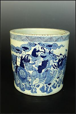 Fine Rare Chinese Beautiful Blue and White Porcelain Immortals Brush Pot
