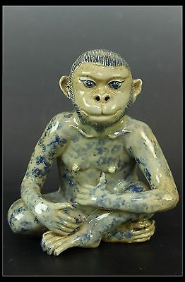 Fine Rare Beautiful Chinese Blue and White Porcelain Carved Monkey Statue