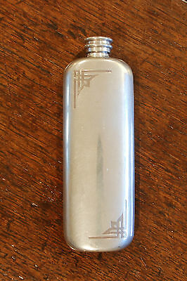 Pewter Hip Flask - Deco - Arts and Crafts Style - 3oz