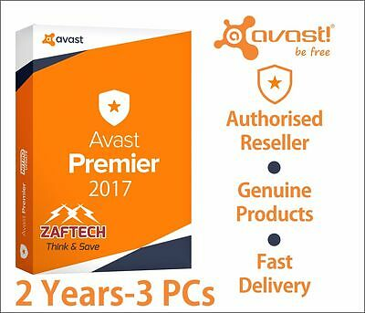 Avast Premier 2017, 2 Years License File for  3 Pcs