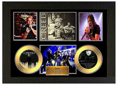 Creed / Scott Stapp - A3 Signed Framed Gold Vinyl Collectors Cd Display Picture