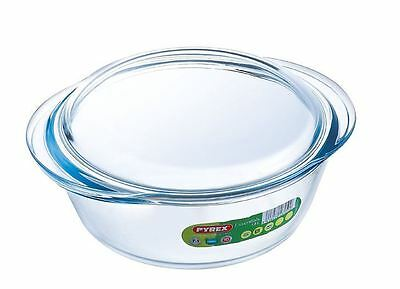 Pyrex Essentials Round Glass Casserole Oven Baking Roasting Dish With Lid 1.6L