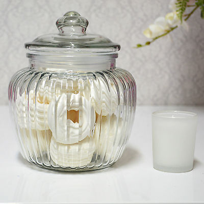 Cookie Jar Lolly Jars Candy Jars Rib Squat Jar Large with Suction Lid 1.45L