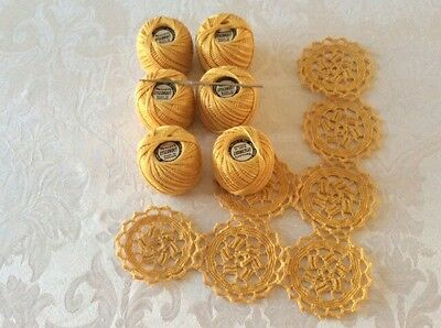 Vintage 6x 25 gram balls of. Unused TWILLEYS  LYSCORDET KNIT AND CROCHET COTTON