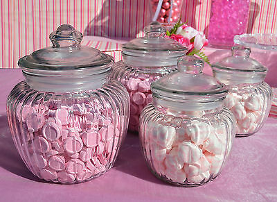 Cookie Jar Candy Jars Lolly Jars x 4 Rib Squat Jars with Suction Lid