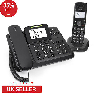 Doro Comfort 4005 Corded/Cordless Combo Phone with Answering Machine - Black
