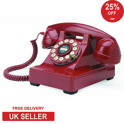 Wild & Wolf Series 302 Retro Classic Phone in Red
