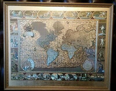 Vintage Map From An Original Engraving by Moses Pitt 1681 Stunning Piece