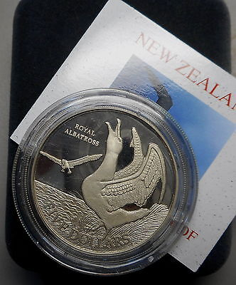 New Zealand 1998 Royal Albatross Bird Silver Proof $5 coin Nice