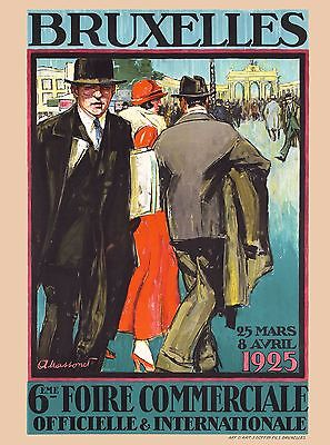 1925 Brussels Belgium Europe European Vintage Travel Art Advertisement Poster