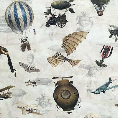 Steampunk fabric, Flying Machines, goggles, Victorian biplanes balloons planes