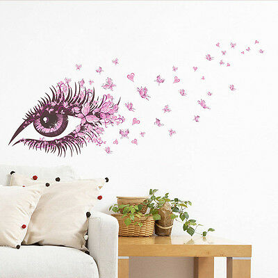 DIY Pink Eyes Butterfly Pattern Art Space Sticker Bedroom Home Decor Vinyl Mural